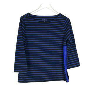 GAP Womens Knit Top Size M Blue Striped Side Zip
